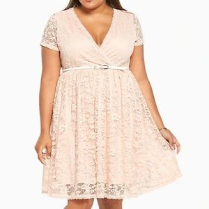 Torrid Pale Blush Lace Skater Dress